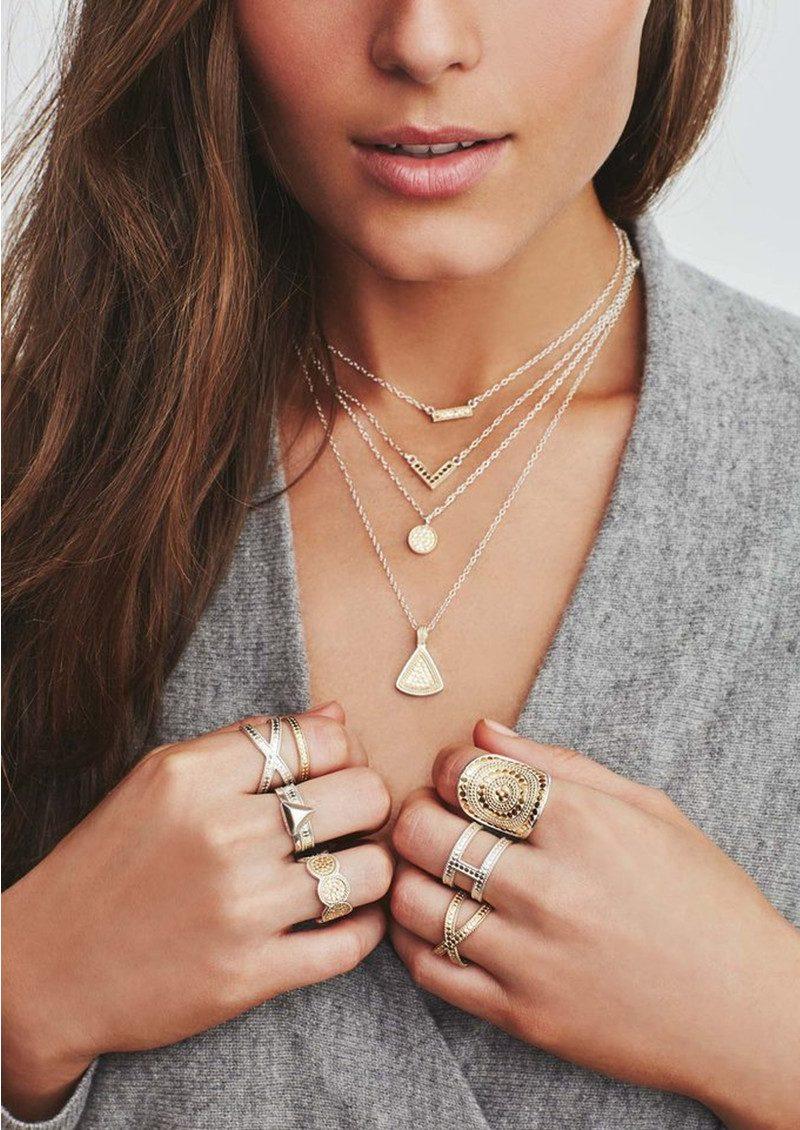 ANNA BECK Mini Circle Reversible Necklace - Gold & Silver main image