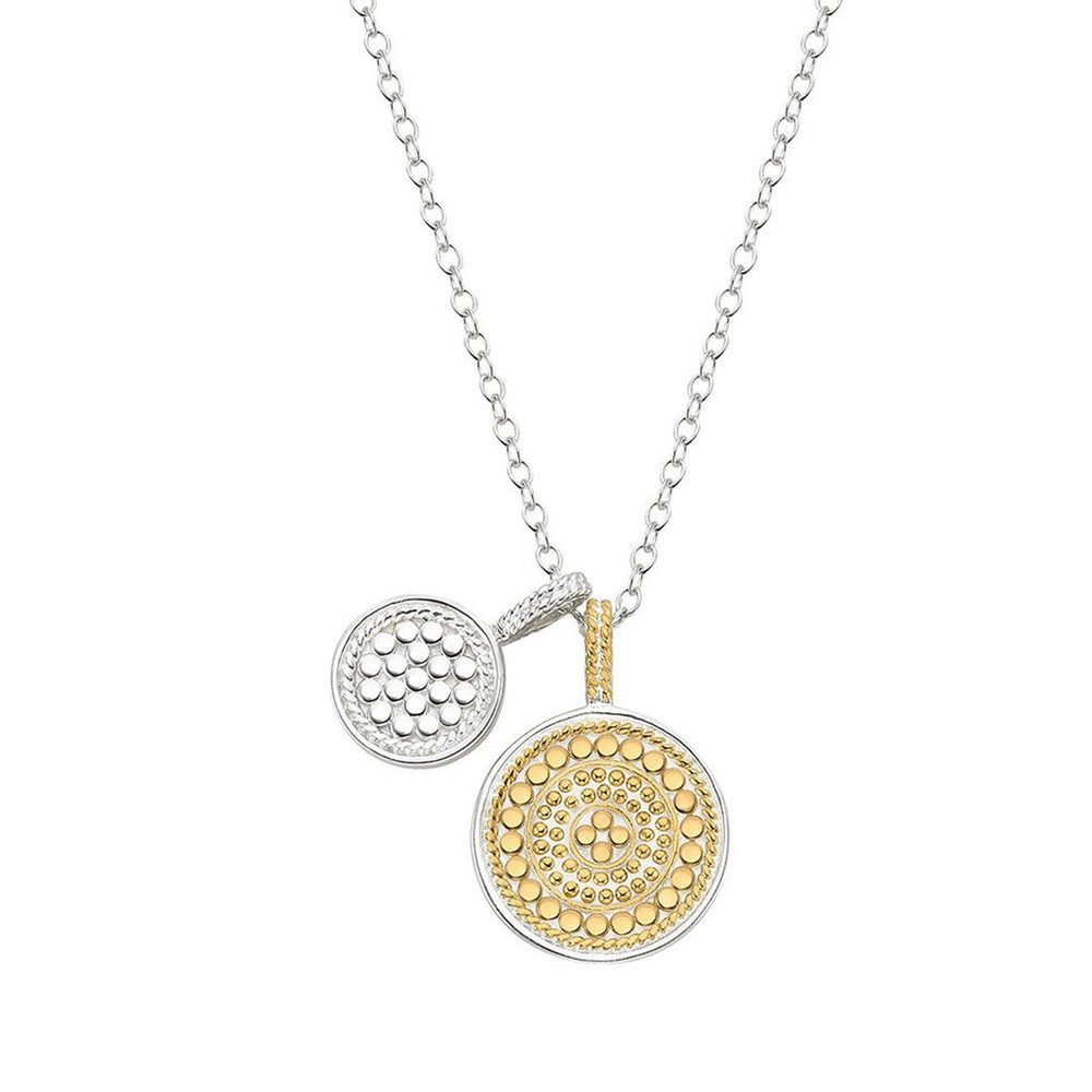 Reversible Double Disc Charm Necklace - Gold & Silver