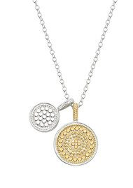 ANNA BECK Reversible Double Disc Charm Necklace - Gold & Silver
