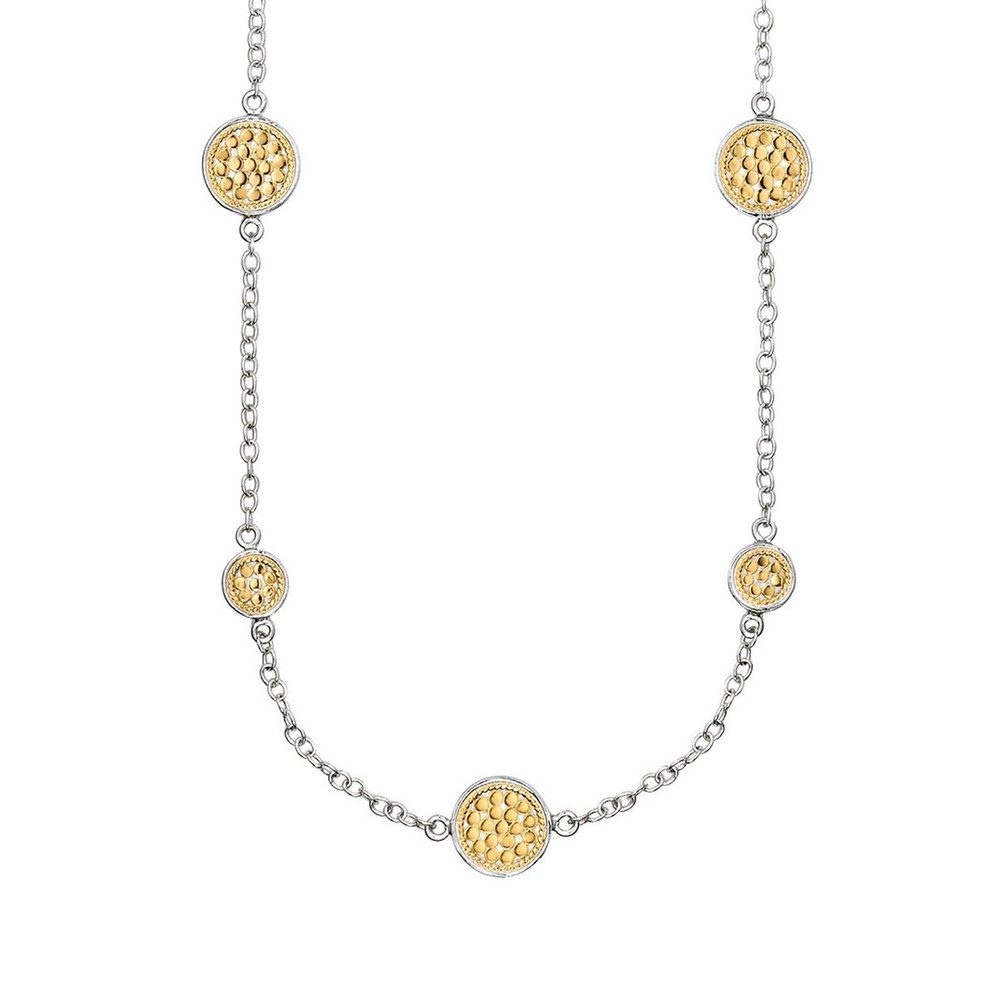 Multi Disc Station Necklace - Gold & Silver