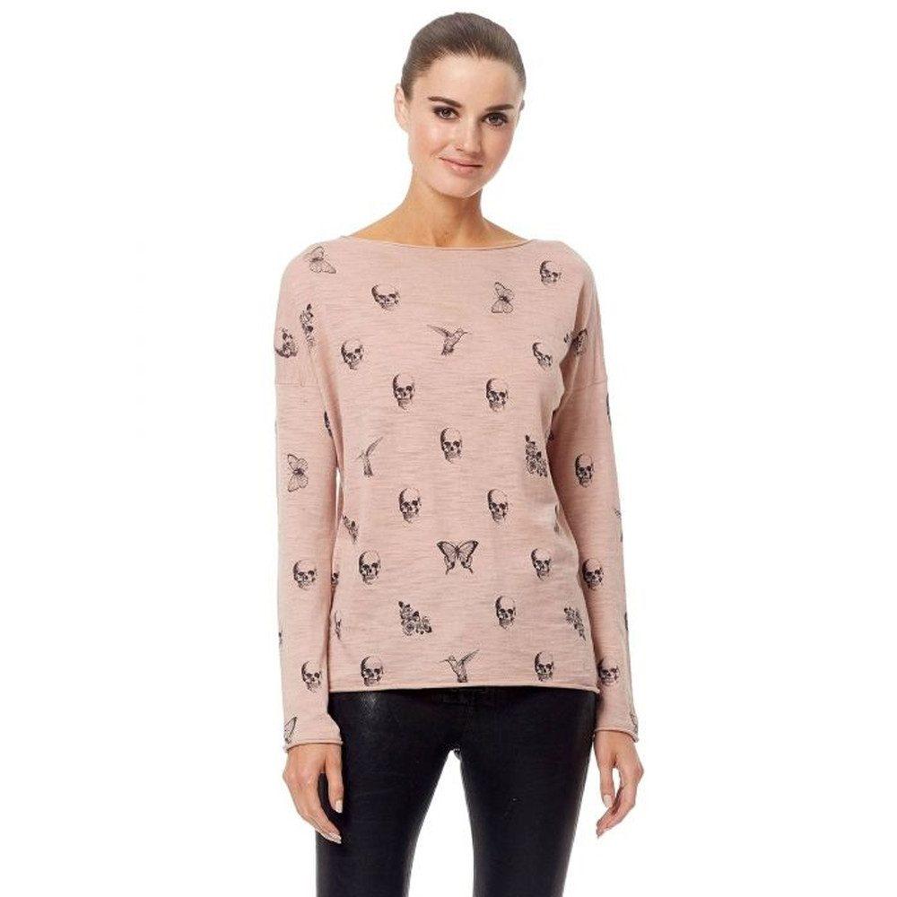 Skull Cashmere Dru Cotton Sweater - Rose Quartz & Charcoal