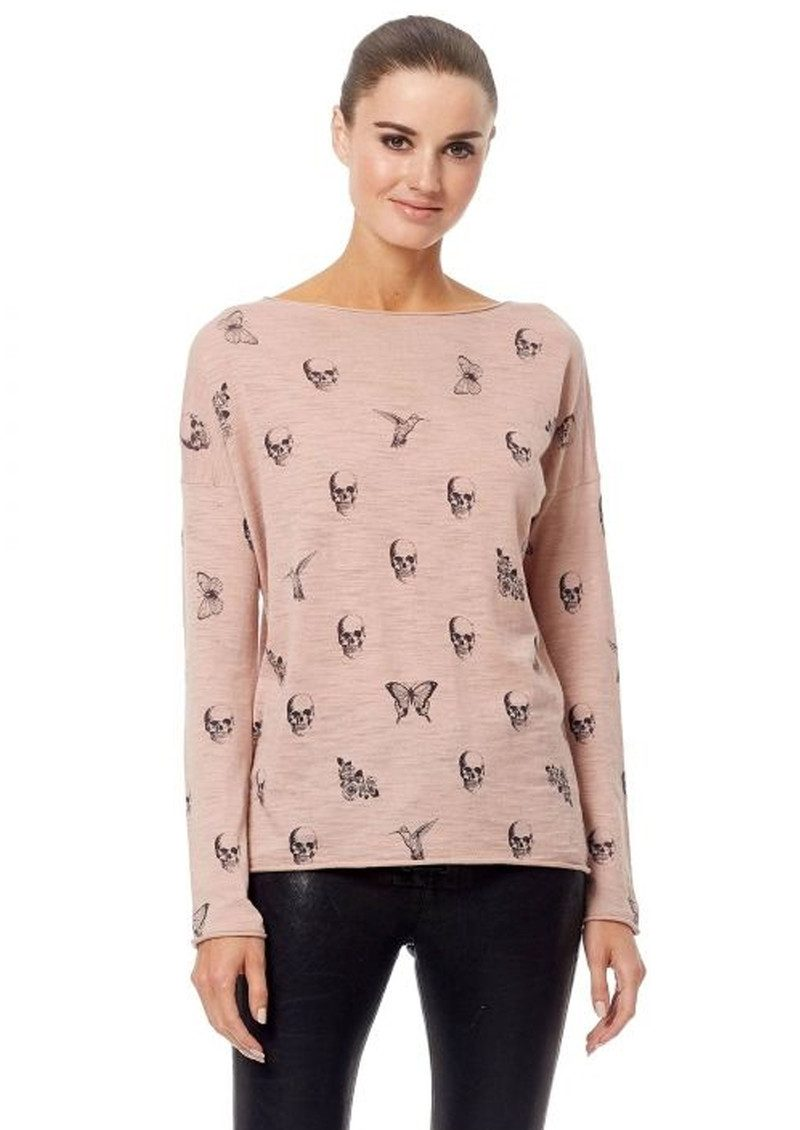 360 SWEATER Skull Cashmere Dru Cotton Sweater - Rose Quartz & Charcoal main image