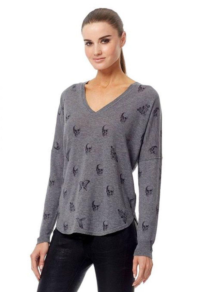 360 SWEATER Skull Cashmere Zahara Cotton Sweater - Heather Grey & Black main image