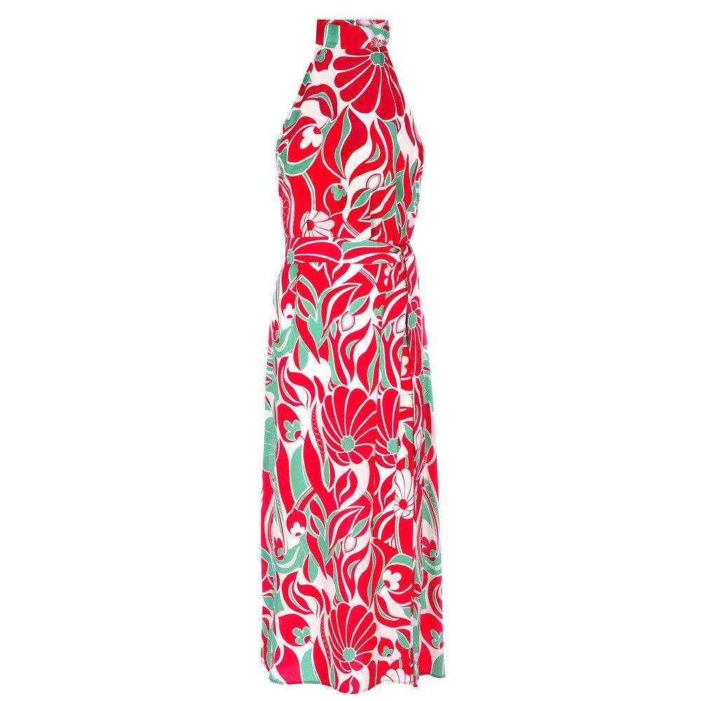 Pearl Halter Neck Midi Dress - Abstract Oriental