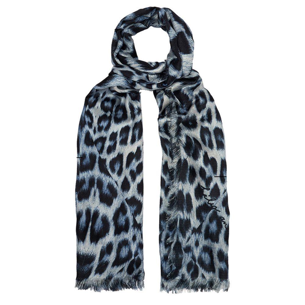 Kitty Leopard Scarf - Sky