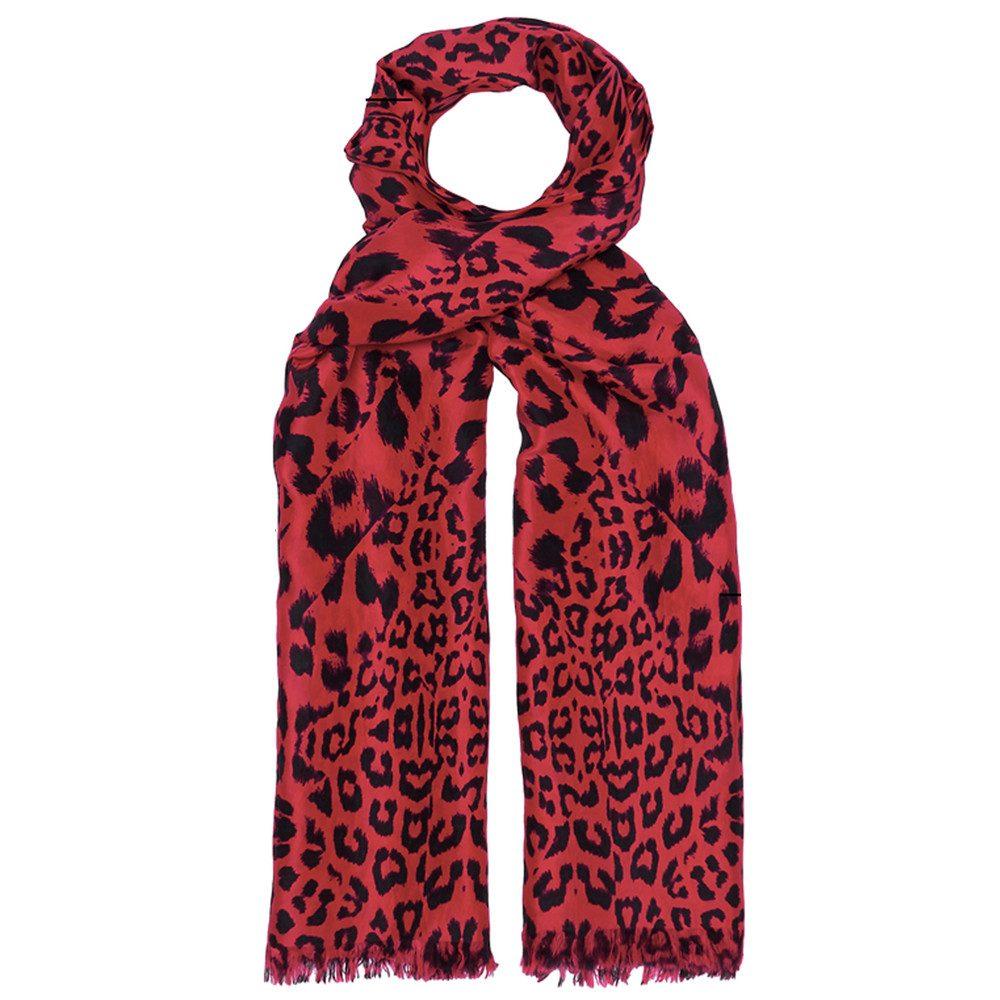 Kitty Leopard Silk Scarf - Cherry Red