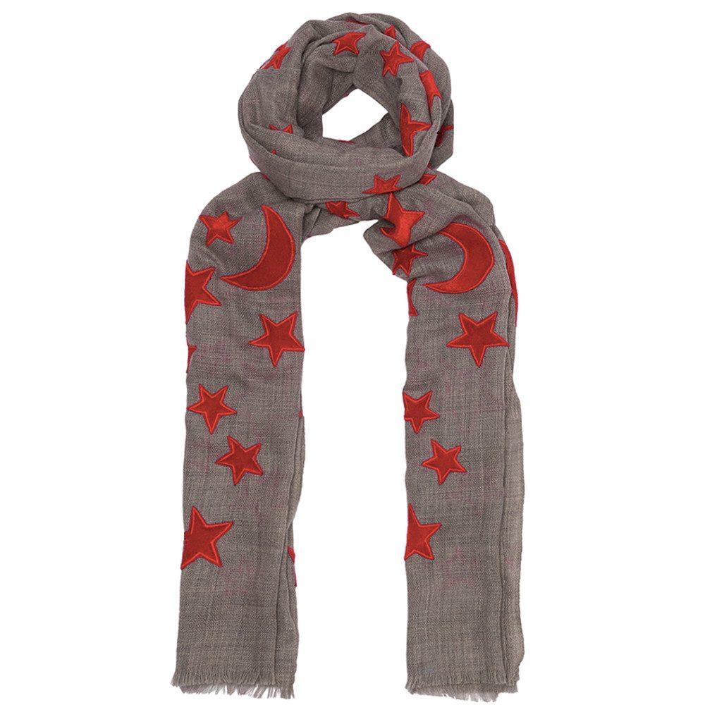Bella Wool Blend Scarf - Grey & Red