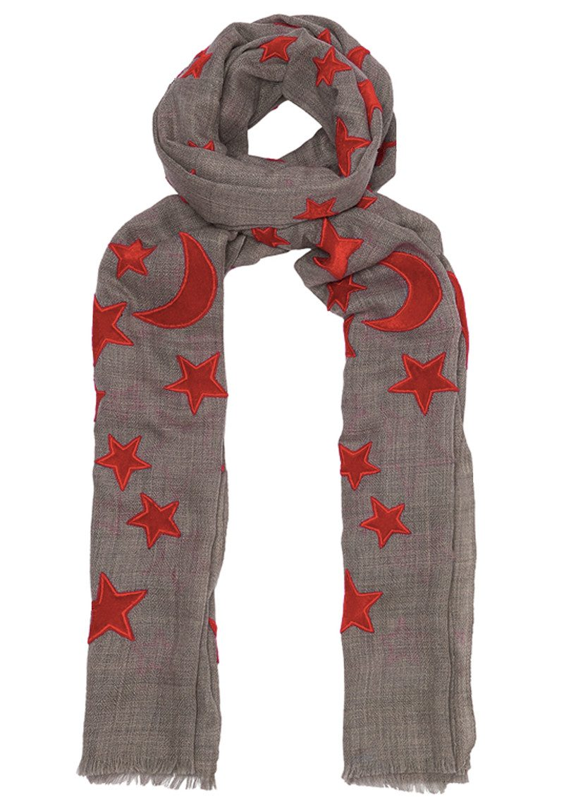 Lily and Lionel Bella Wool Blend Scarf - Grey & Red main image