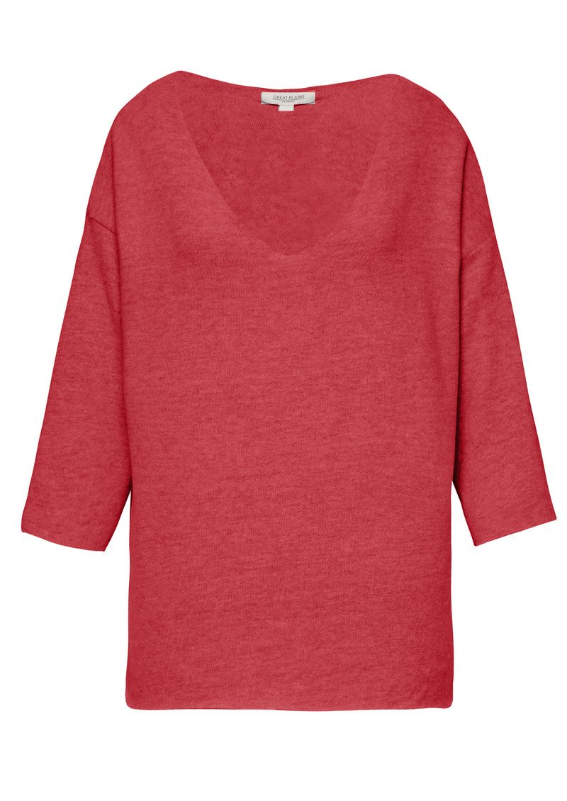 Great Plains Kitten Play V Neck Top - Redcurrant Pink main image