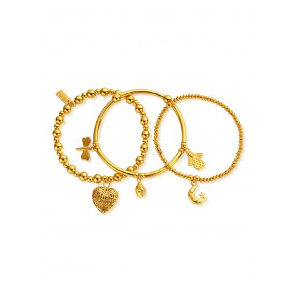 Stack Of 3 Happiness Bracelets - Gold