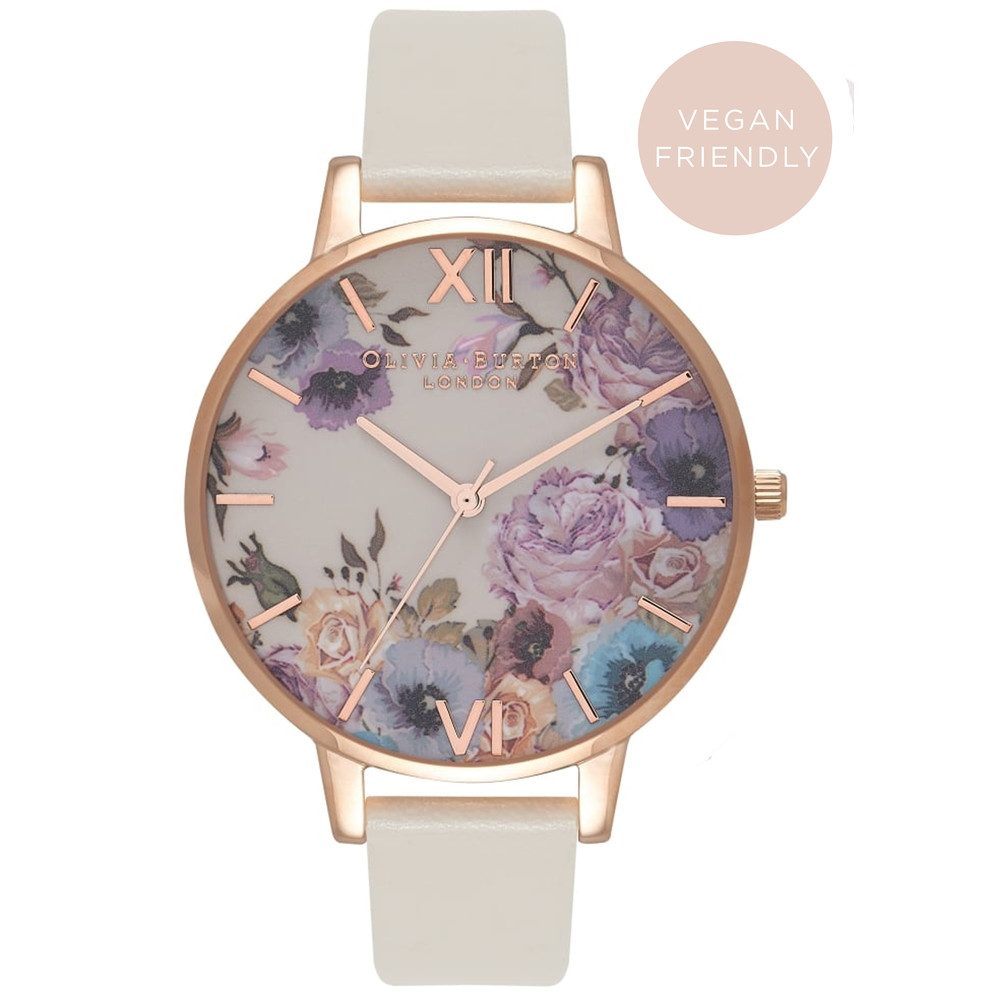 Vegan Friendly Enchanted Garden Watch - Nude & Rose Gold