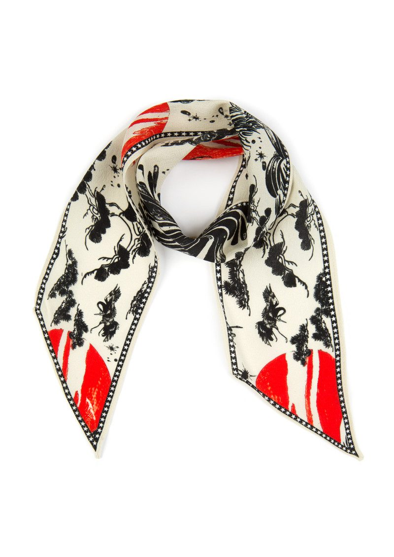 RIXO London Alexa Neckscarf - Cream Oriental Sky main image