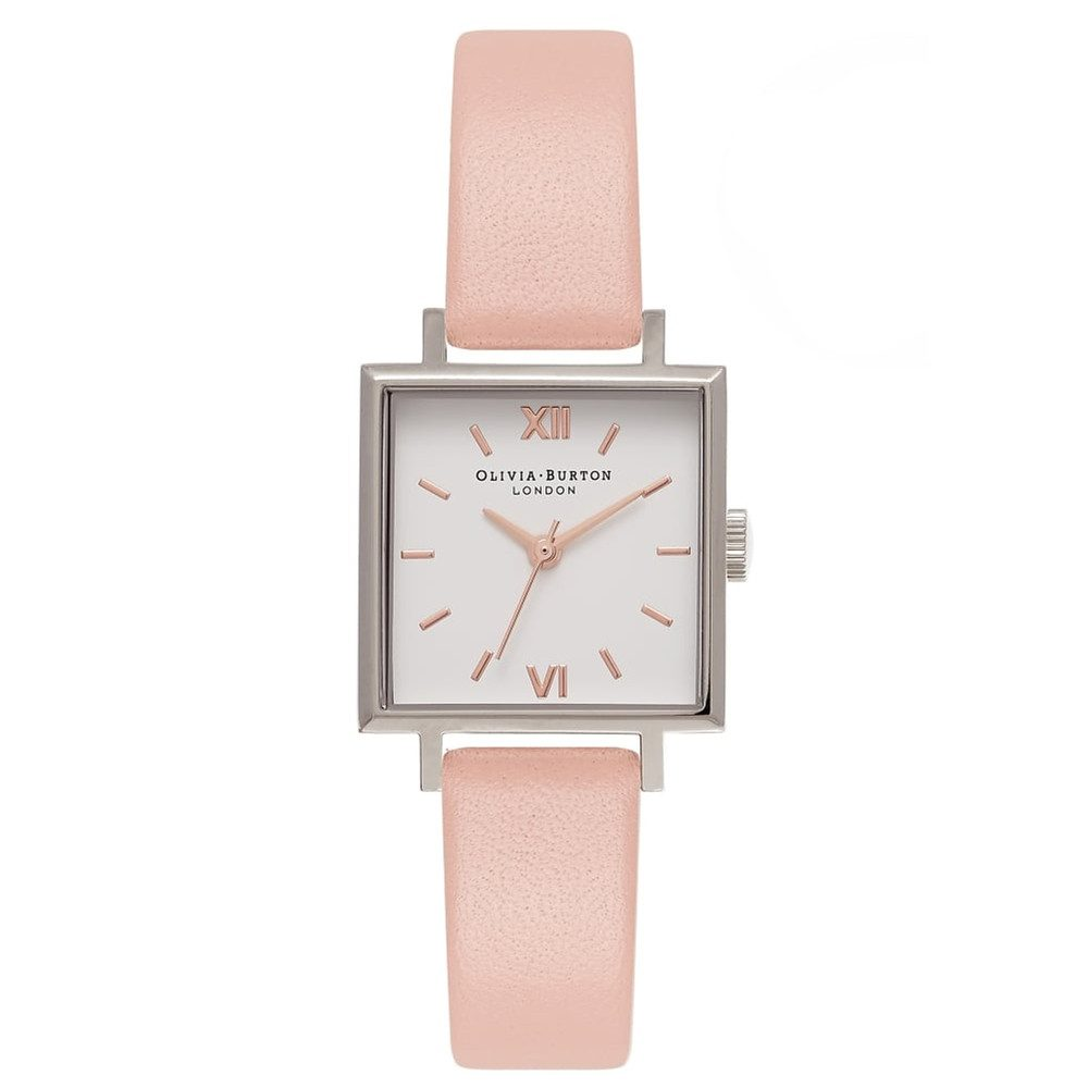 Midi Square Dial Watch - Dusty Pink, Silver & Rose Gold