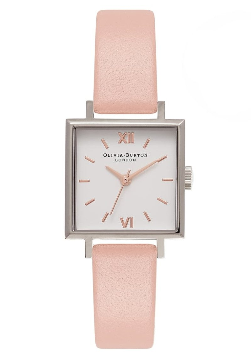 Olivia Burton Midi Square Dial Watch - Dusty Pink, Silver & Rose Gold main image