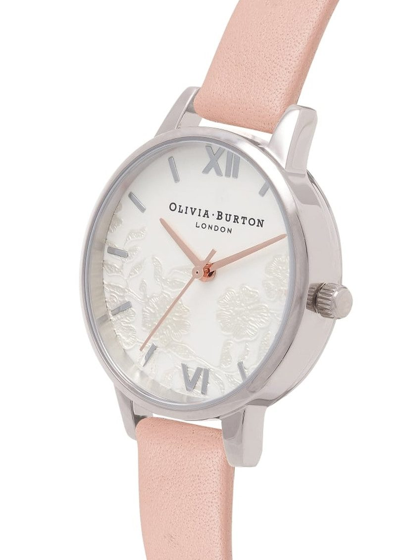 Olivia Burton Lace Detail Watch - Dusty Pink, Silver & Rose Gold main image