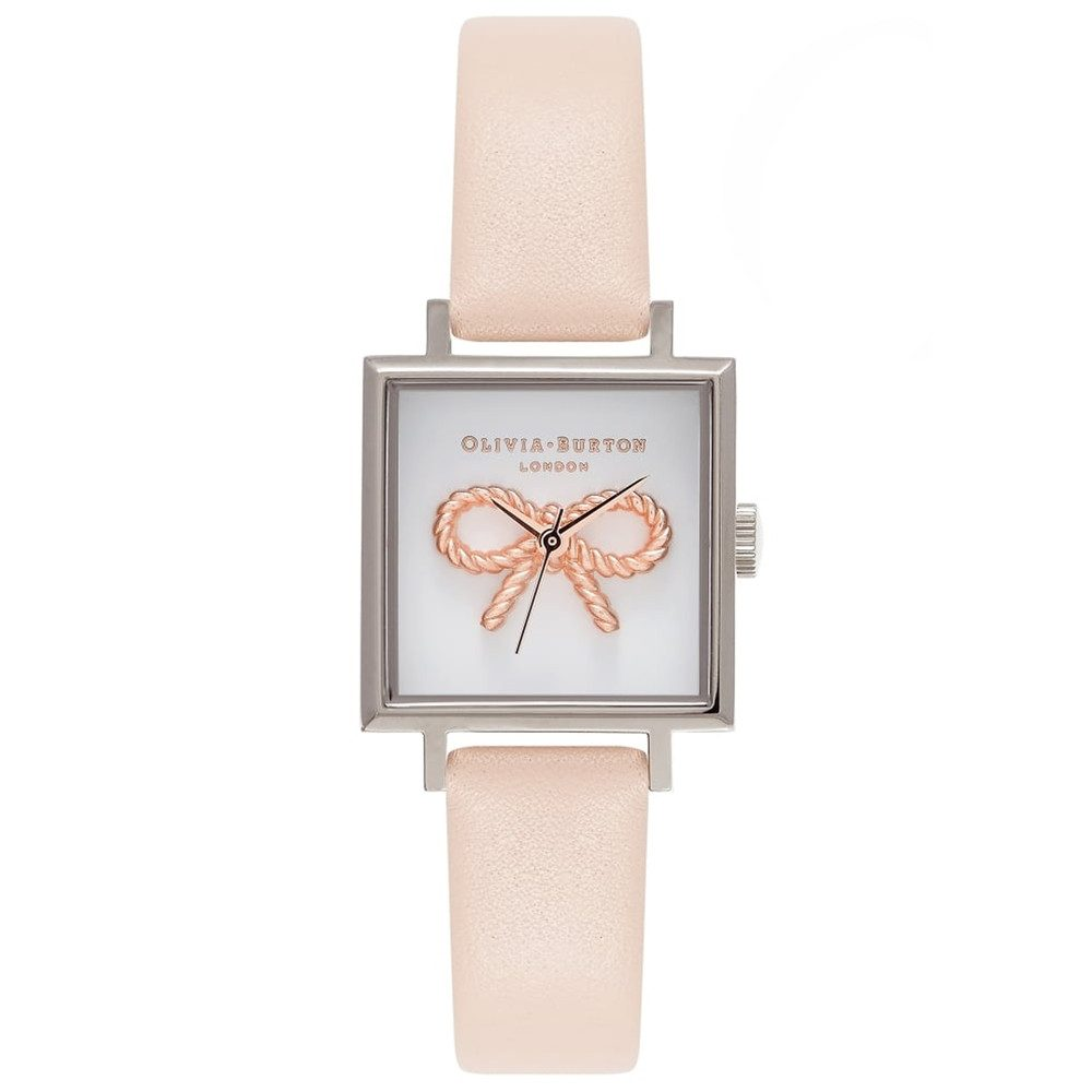 3D Vintage Bow Watch - Nude Peach & Silver