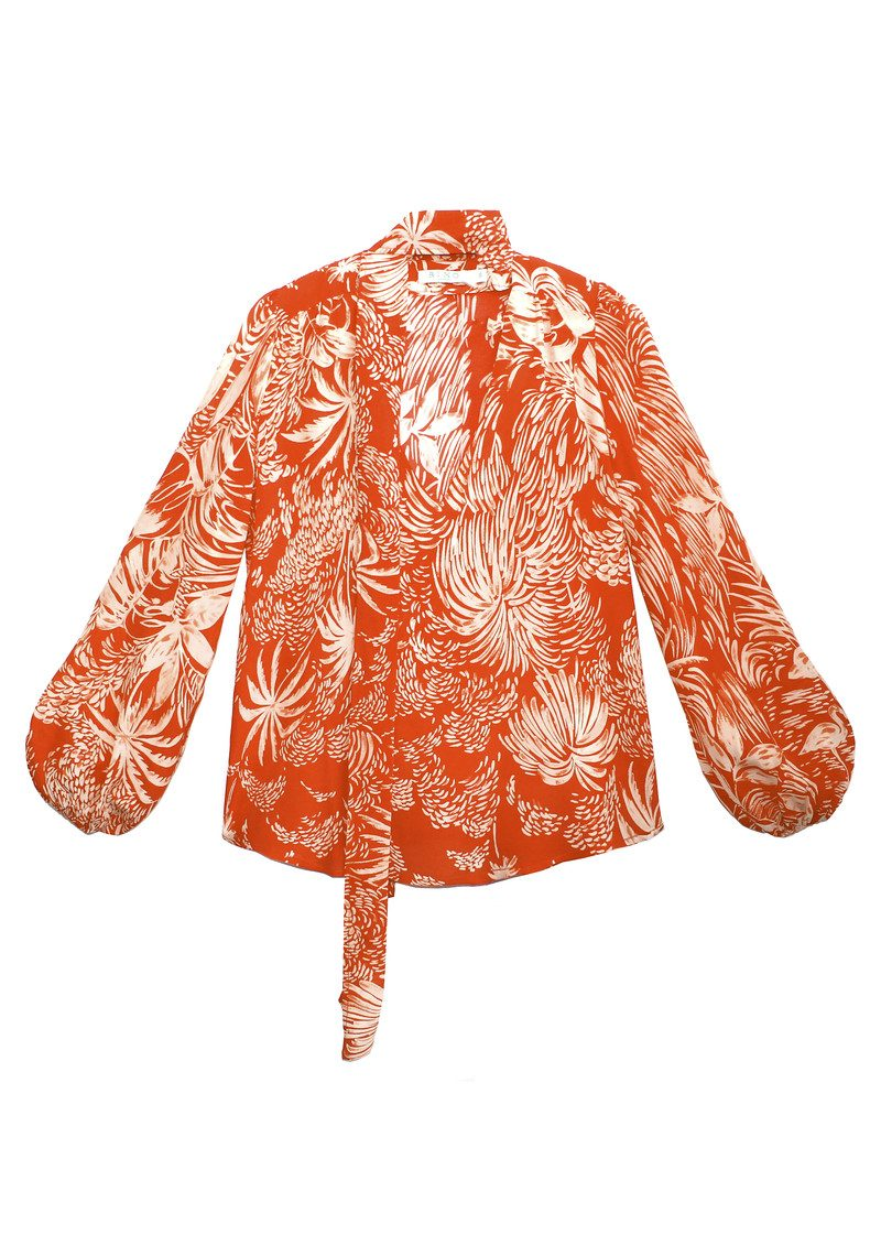RIXO London Moss Blouse - Red Oriental Jungle main image