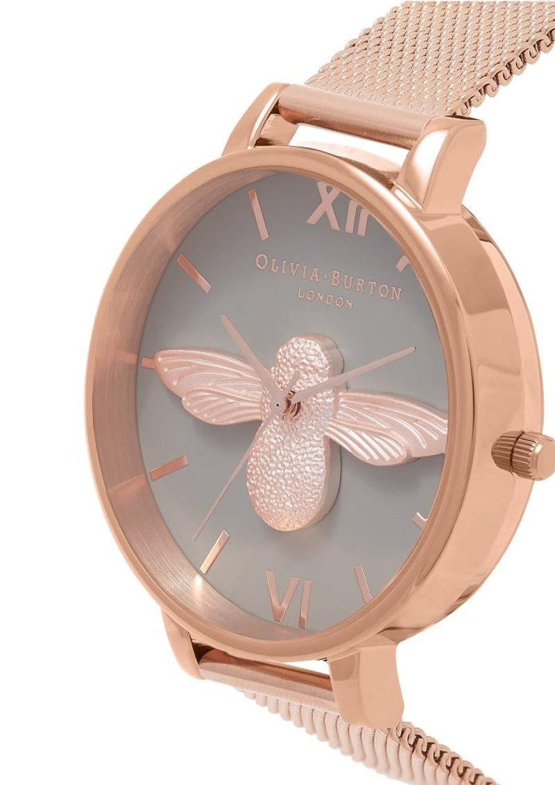 Olivia Burton 3D Bee Grey Dial Mesh Watch - Rose Gold main image