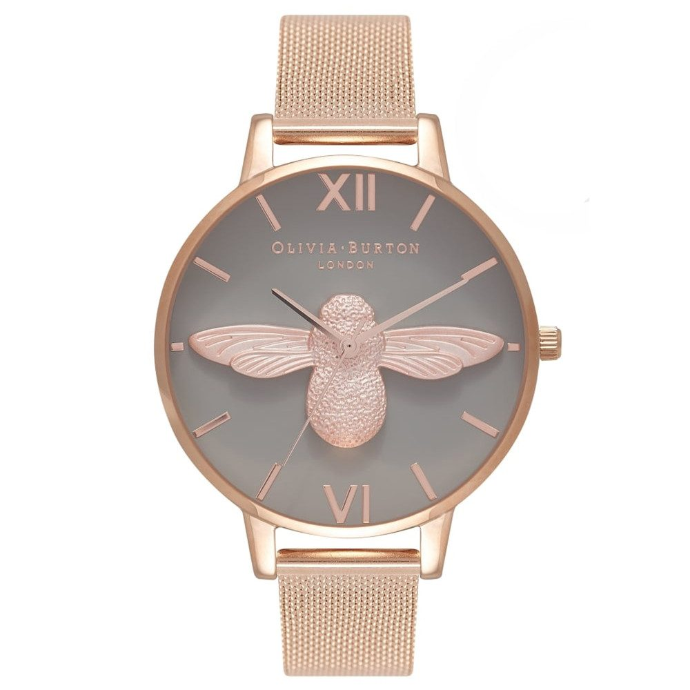 3D Bee Grey Dial Mesh Watch - Rose Gold