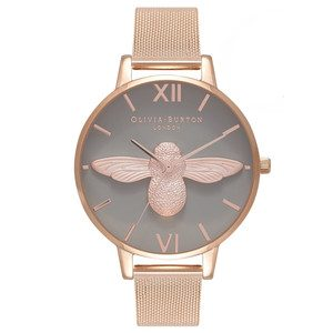 3D Bee Grey Dial Mesh Watch - Rose Gold