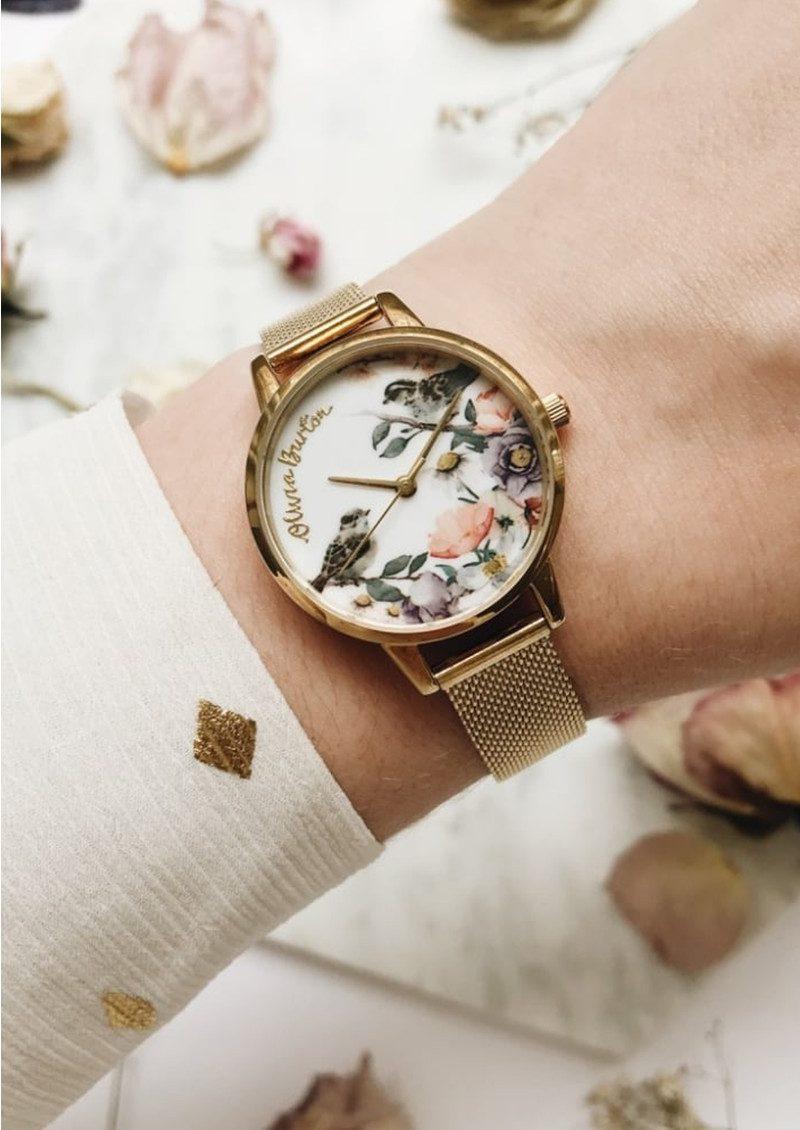 Olivia Burton English Garden Midi Watch - Gold Mesh main image