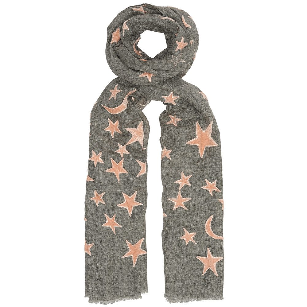Exclusive Bella Wool Blend Scarf - Grey & Nude