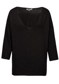 Great Plains KITTEN PLAY V NECK TOP - Black