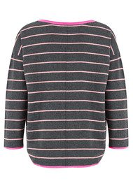 COCOA CASHMERE Striped Curved Hem Cashmere Sweater - Candy & Ash