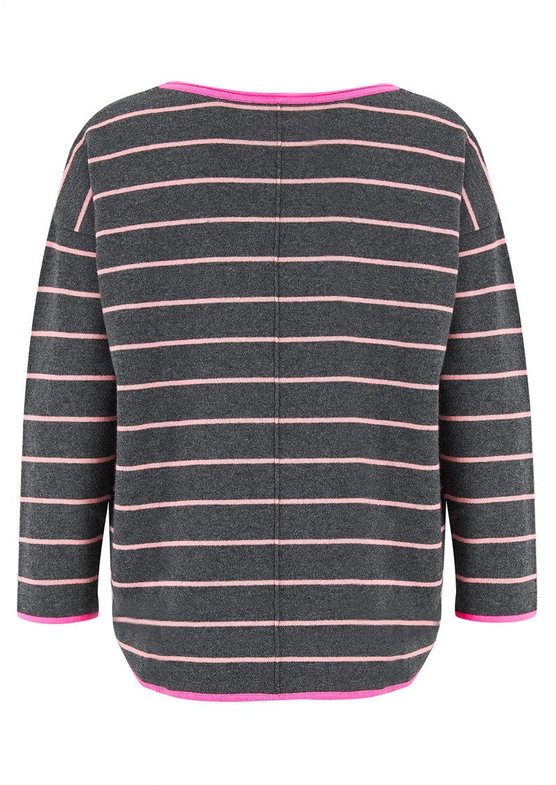 COCOA CASHMERE Striped Curved Hem Cashmere Sweater - Candy & Ash main image