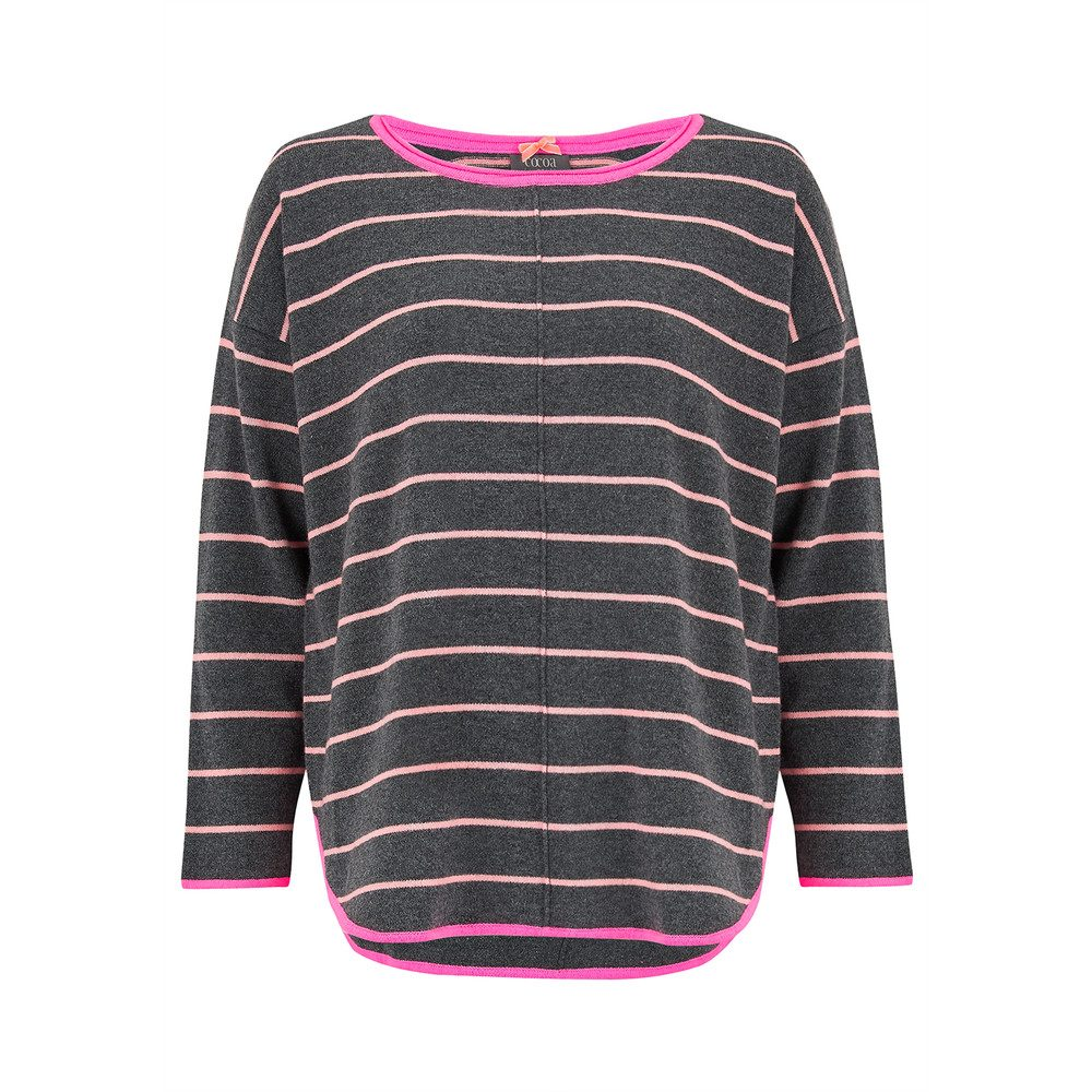 Striped Curved Hem Cashmere Sweater - Candy & Ash