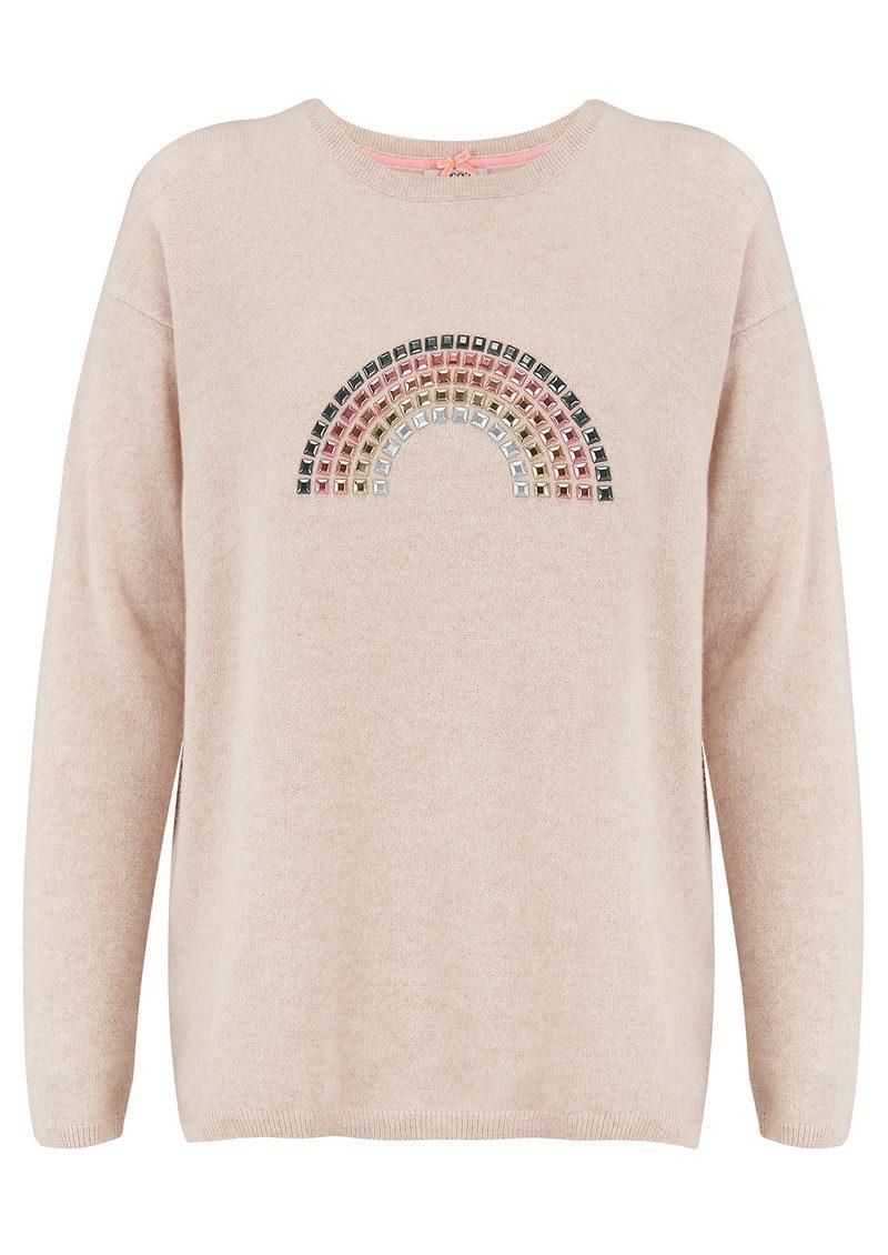 COCOA CASHMERE Rainbow Hotfix Cashmere Sweater - Oatmeal  main image