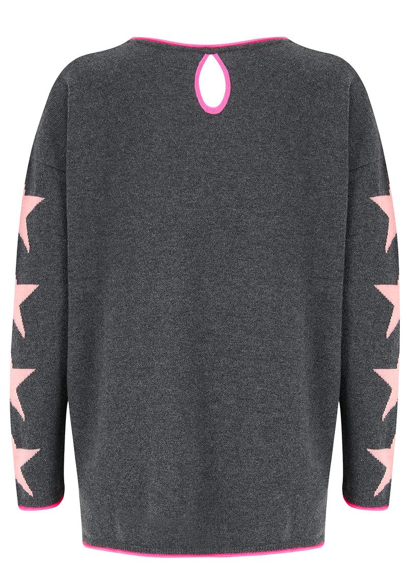 COCOA CASHMERE Star Cashmere Sweater - Candy, Ash & Peach Fizz main image