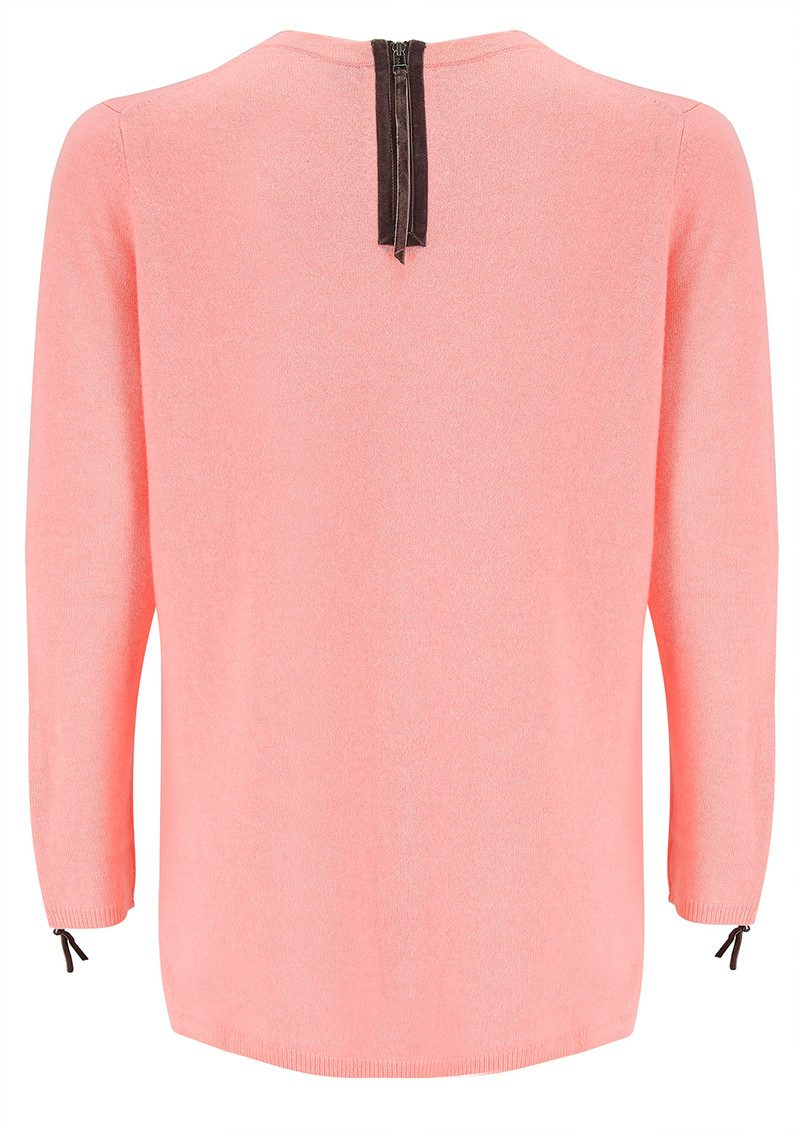 Velvet Zip Trim Cashmere Sweater - Peach Fizz main image