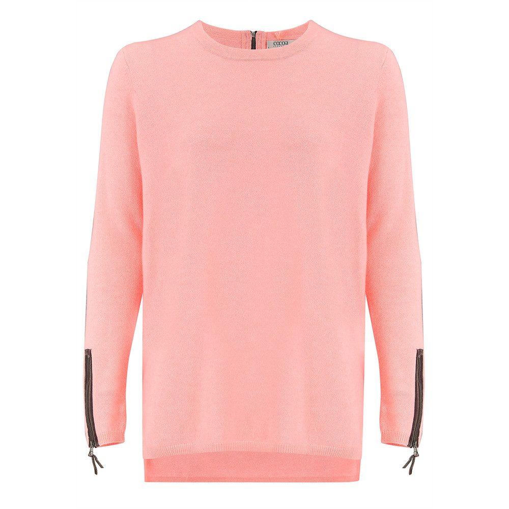 Velvet Zip Trim Cashmere Sweater - Peach Fizz