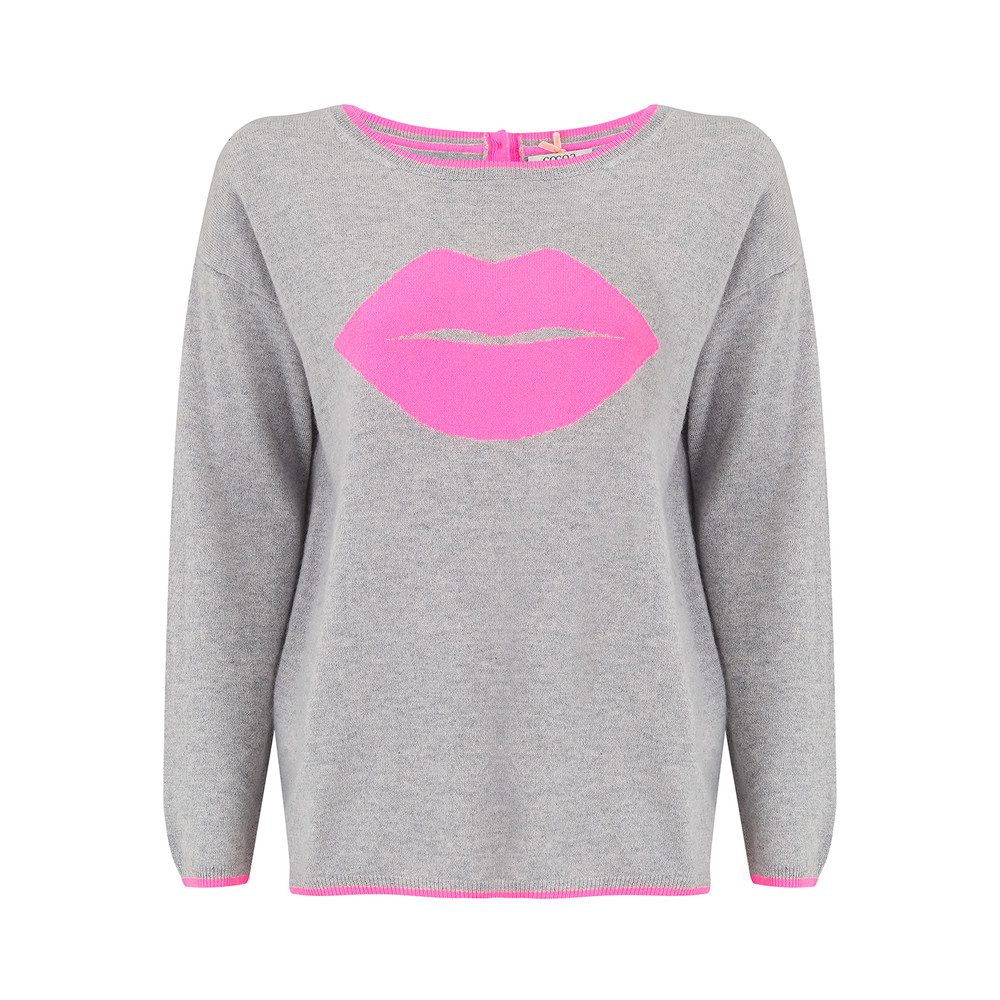 Pout Cashmere Sweater - Grey & Candy