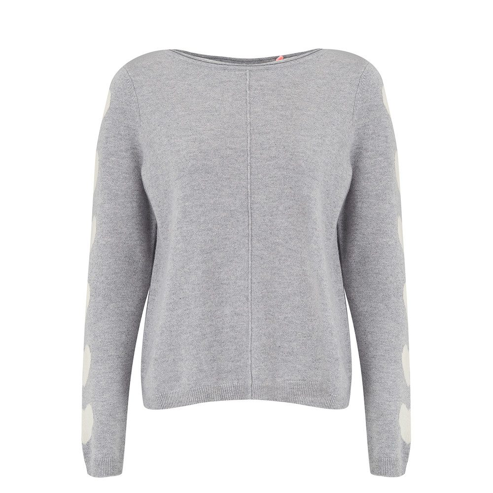 Heart Sleeve Cashmere Sweater - Grey & Cream