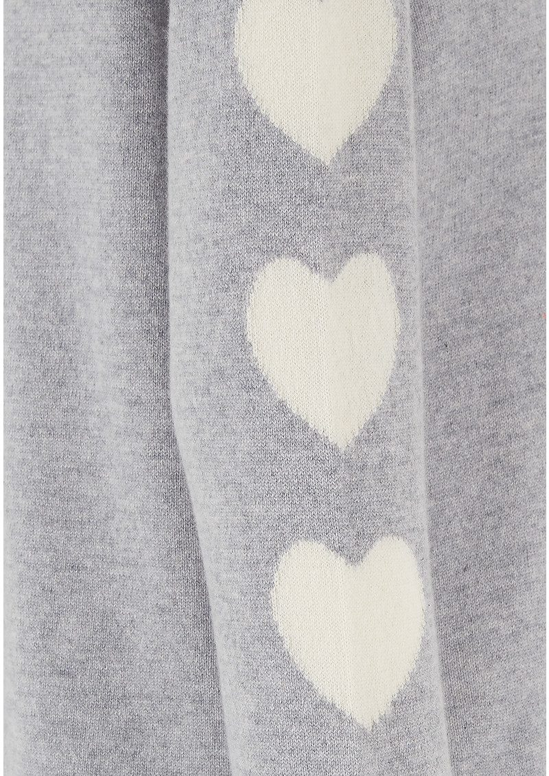 COCOA CASHMERE Heart Sleeve Cashmere Sweater - Grey & Cream main image
