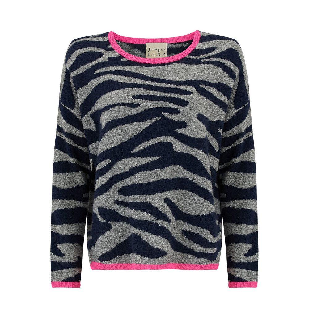Tipped Tiger Crew - Grey, Navy & Neon Pink