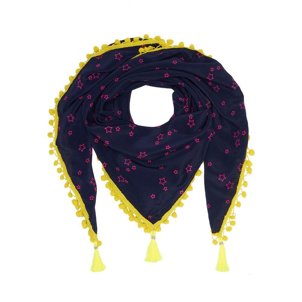 Athena Pom Pom Scarf - Stars Midnight & Electric Neon Yellow