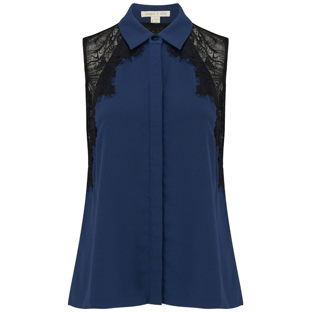 Vera Lace Shirt - Navy