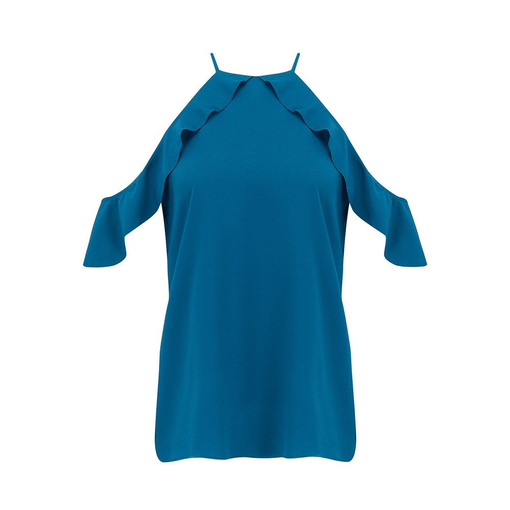 Saga Ruffle Cold Shoulder Top - Ocean Blue