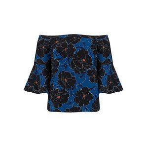 Nora Cold Shoulder Top - Black Floral Print