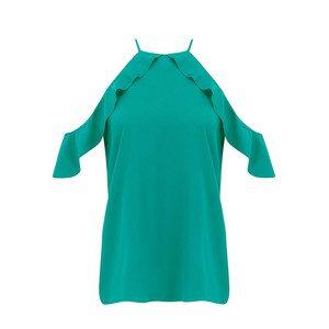 Saga Ruffle Cold Shoulder Top - Pine Green