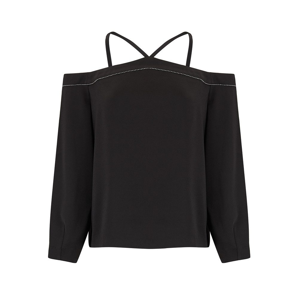 Joline Cold Shoulder Top - Black