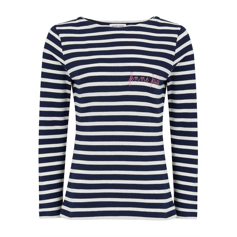 Femme Fatale Long Sleeve Stripe Tee - Blue & White
