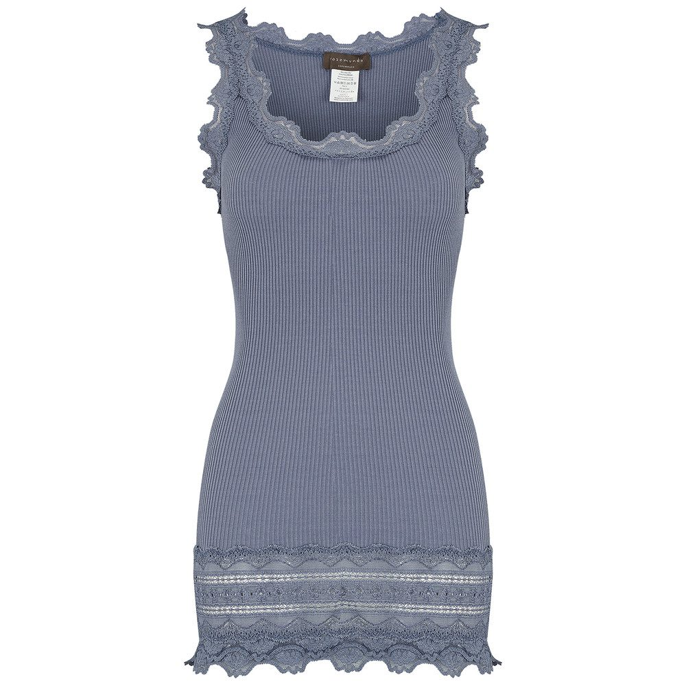 Wide Lace Silk Blend Vest - Flint Blue