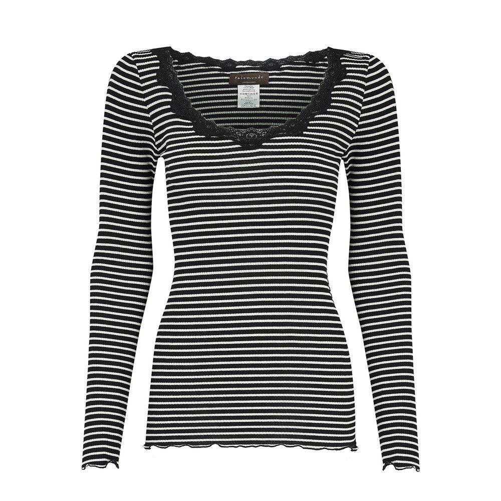 Long Sleeve Silk Blend Top - Black & Ivory Stripe