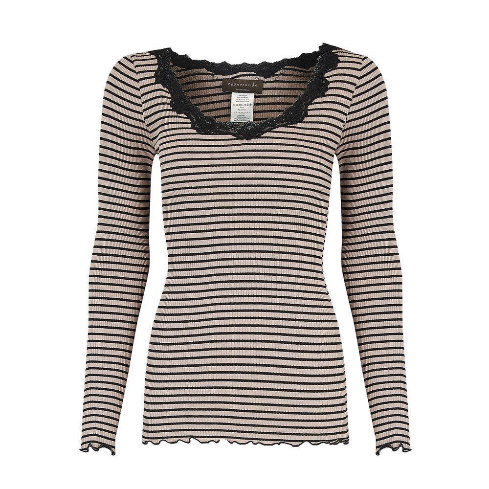 Long Sleeve Silk Blend Top - Atmosphere & Black Stripe