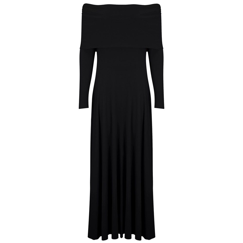 Cowl Neck Flared Dress - Black