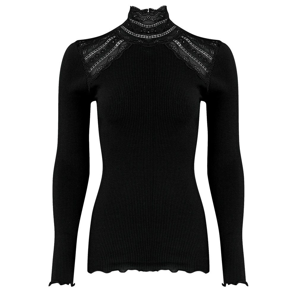 Turtleneck Silk Blend T-shirt - Black